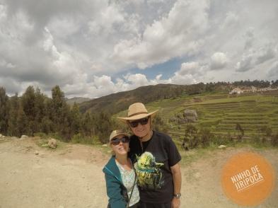 Vista das ruinas de Chinchero em Cusco no Peru